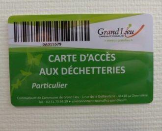 une carte pour accéder aux déchetteries de Grand Lieu
