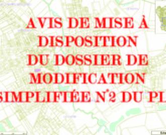 AVIS AU PUBLIC : MISE À DISPOSITION DU DOSSIER DE MODIFICATION SIMPLIFIÉE N°2 DU PLU